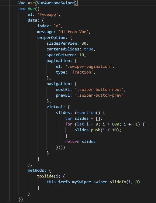 I want to use it to control the slide(vue-awesome-swiper
